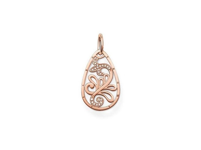 Product standard pe540 416 14 thomas sabo rose gold cubic zirconia cutout leaf pendant