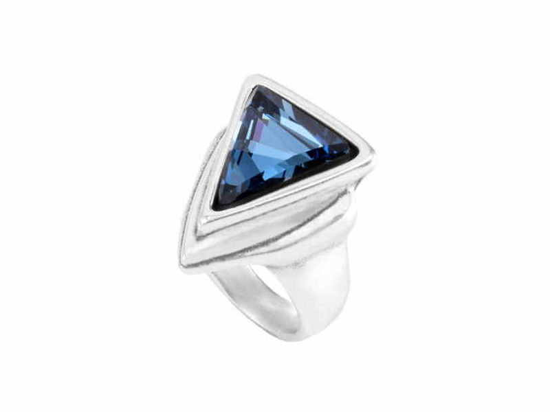 Product standard triangle ring swarovski azul superunos